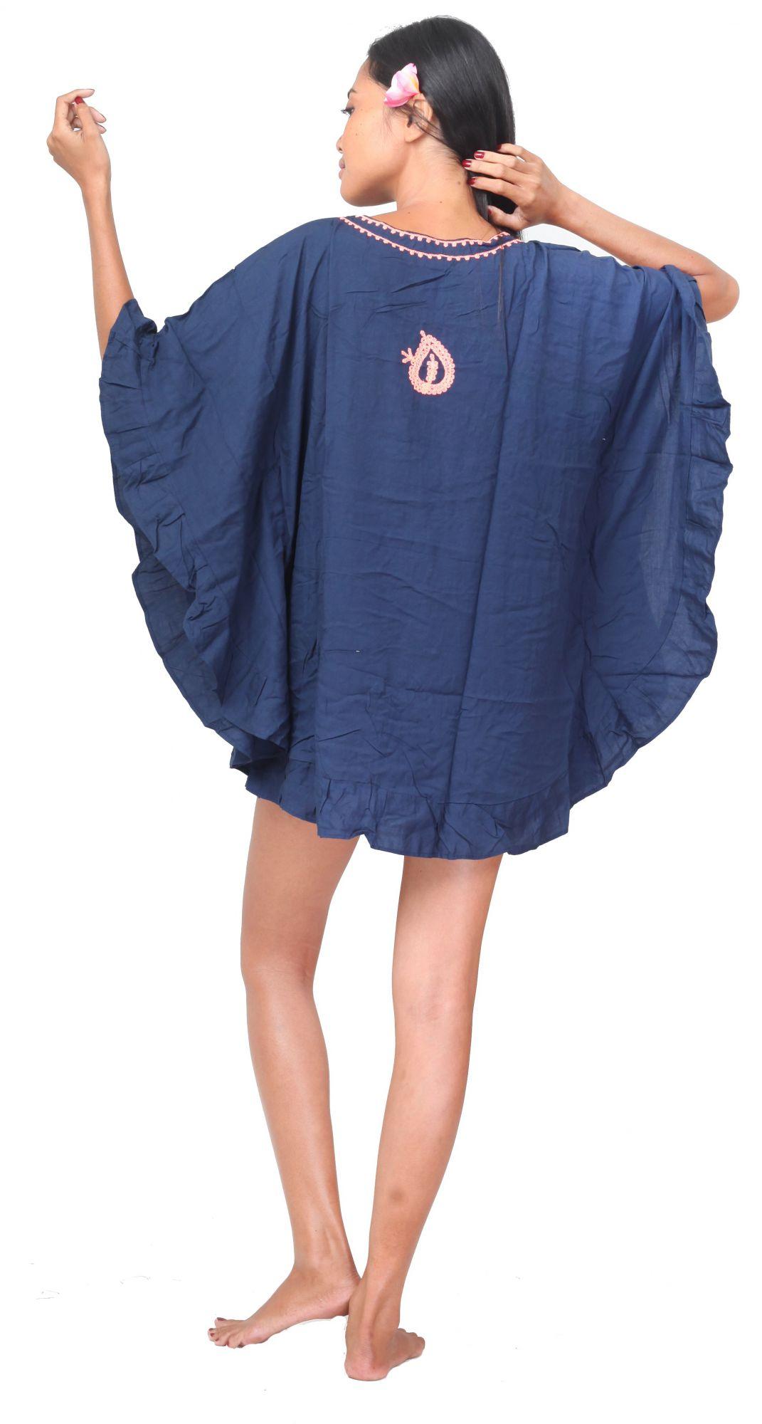 Robe bleu nuit d\'été brodée femme