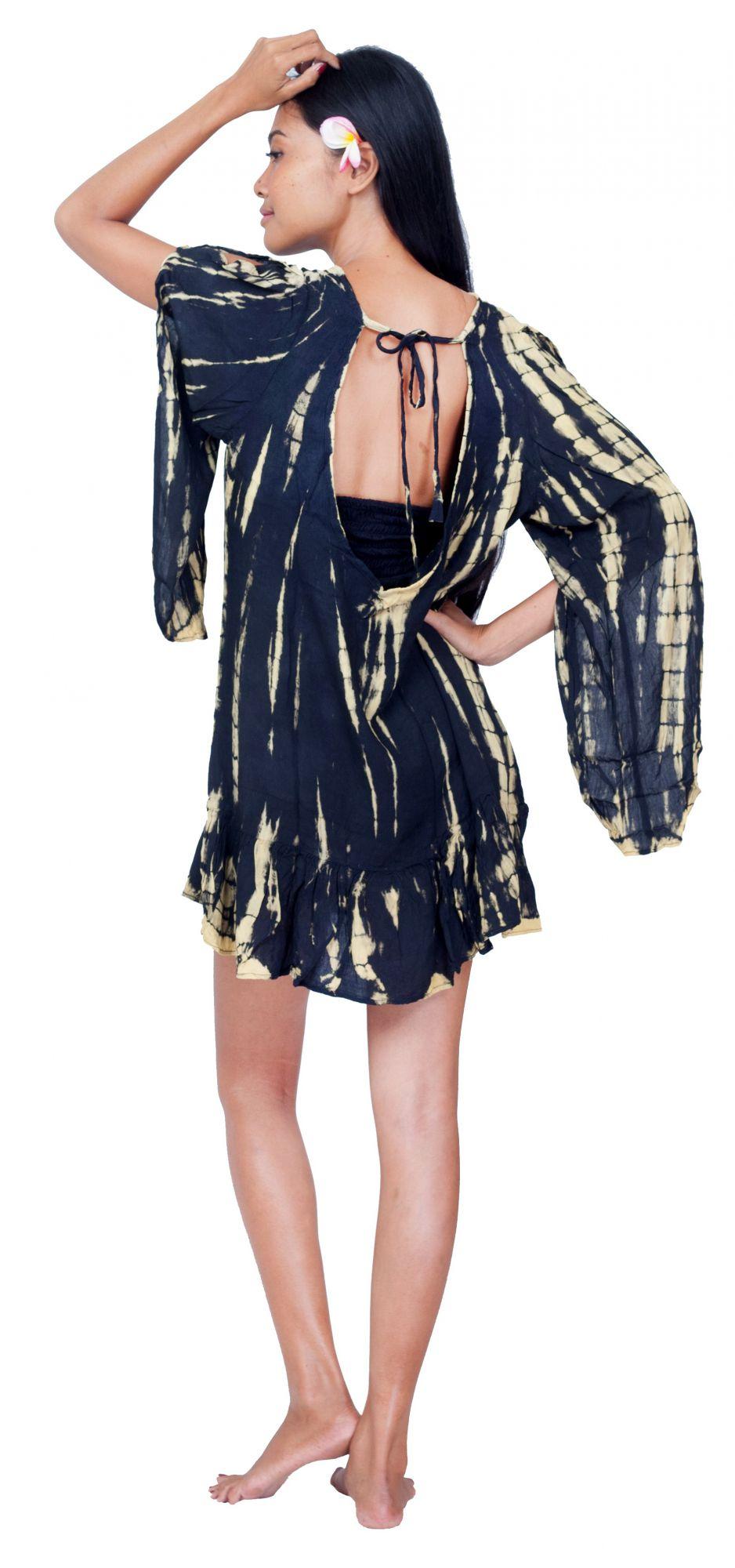 Robe d\'été légère Tie Dye noir