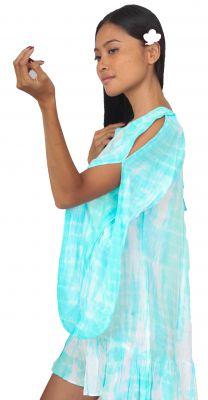 Robe d\'été légère Tie Dye turquoise