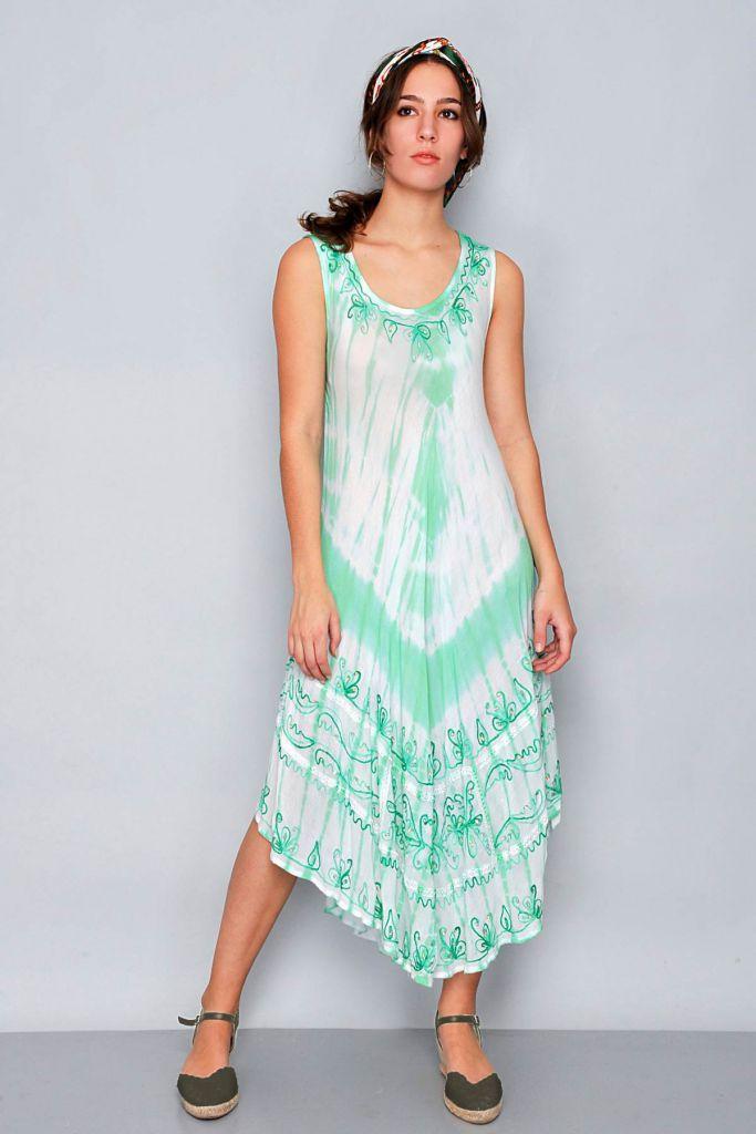 Robe de plage bohème vert et blanc