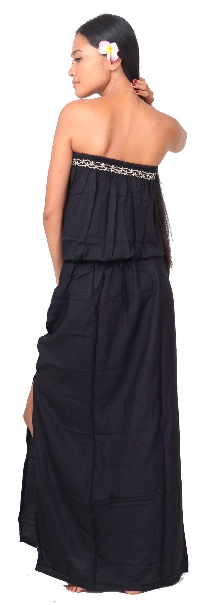 Robe de plage brodée noir