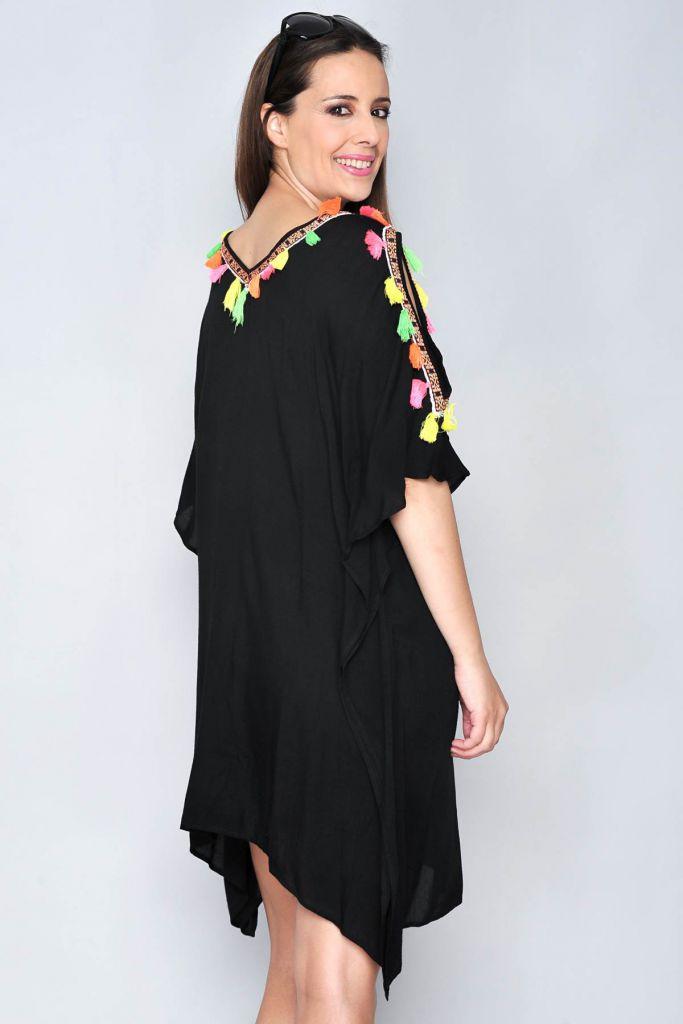 Robe de plage caftan noir Moorea