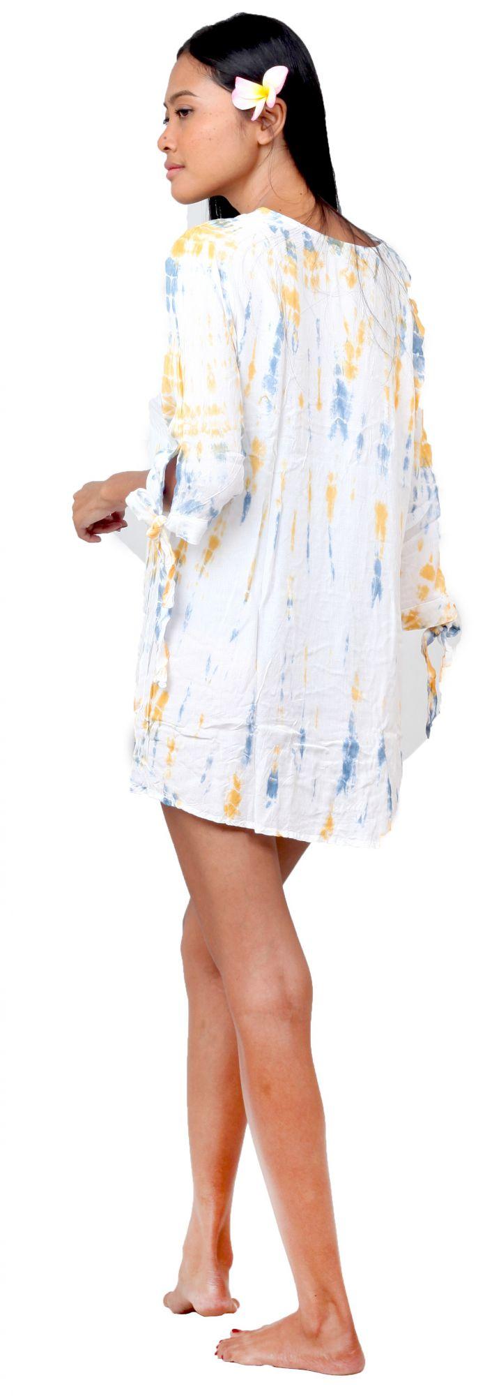 Robe de plage courte tie dye blanche