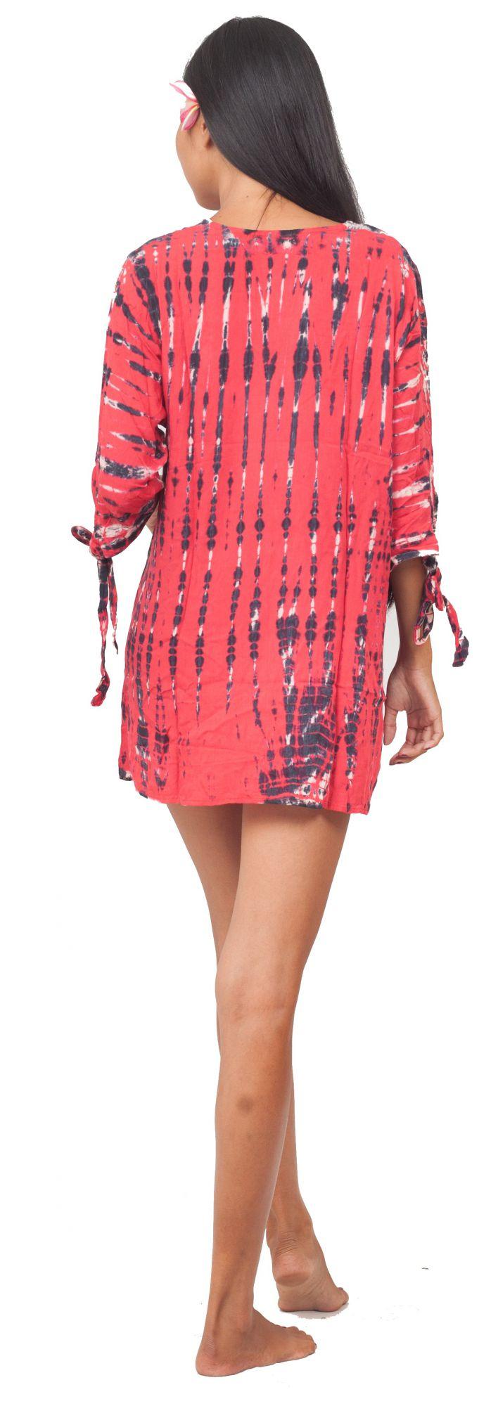 Robe de plage courte tie dye rose