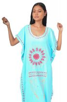 Robe longue broderie bleu turquoise