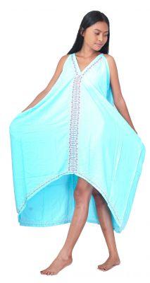 Robe longue ethnique bleu avec broderies
