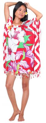 Robe paréo de Bali en fleurs rouge