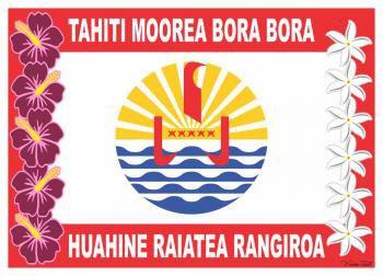 Robe paréo drapeau Polynésien fleurie