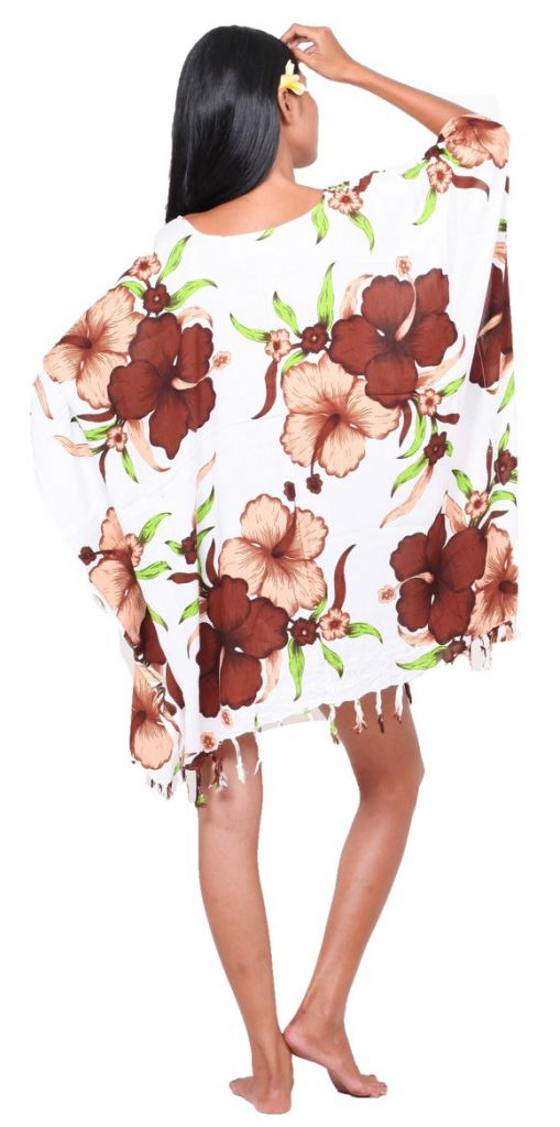 Robe paréo fleuris marron