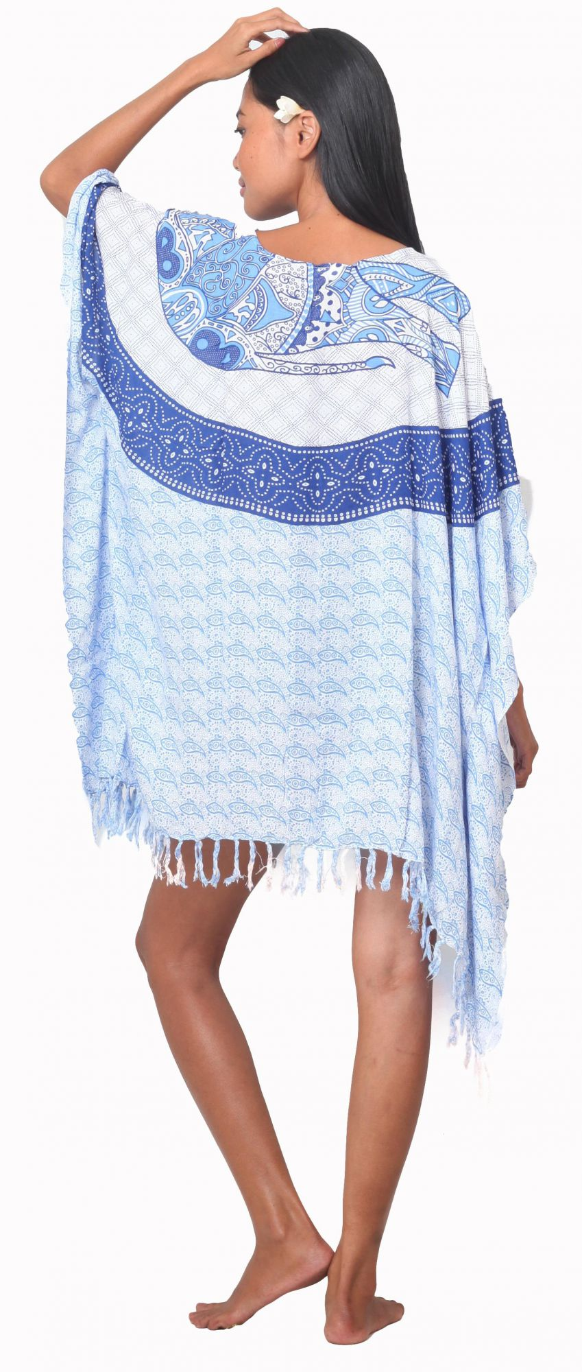 Robe Paréo patchwork élephant bleu