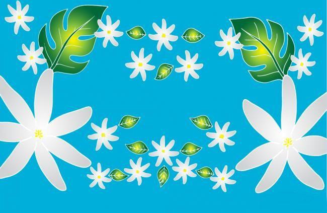 Robe paréo peint main tiare bleu