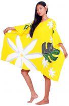 Robe paréo peint main tiare jaune