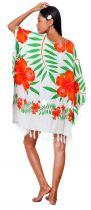 Robe Paréo plage hibiscus orange