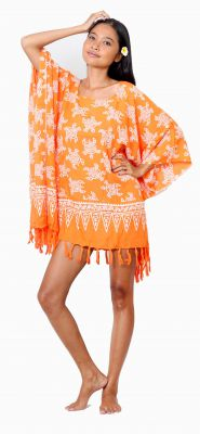 Robe paréo souple de plage tortue orange