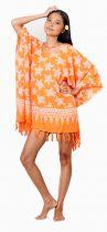 Robe paréo souple de plage tortue orange