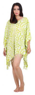 Robe paréo souple vert et blanc