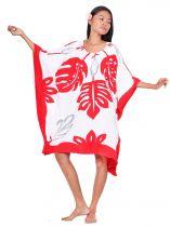 Robe paréo Tifaifai rouge et blanc