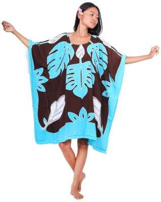 Robe paréo Tifaifai turquoise et chocolat