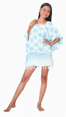 Robe paréos de plage tortue bleu ciel