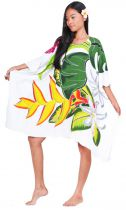 Robe paréos Opuhi de Tahiti blanc