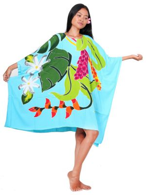 Robe paréos Opuhi de Tahiti bleu