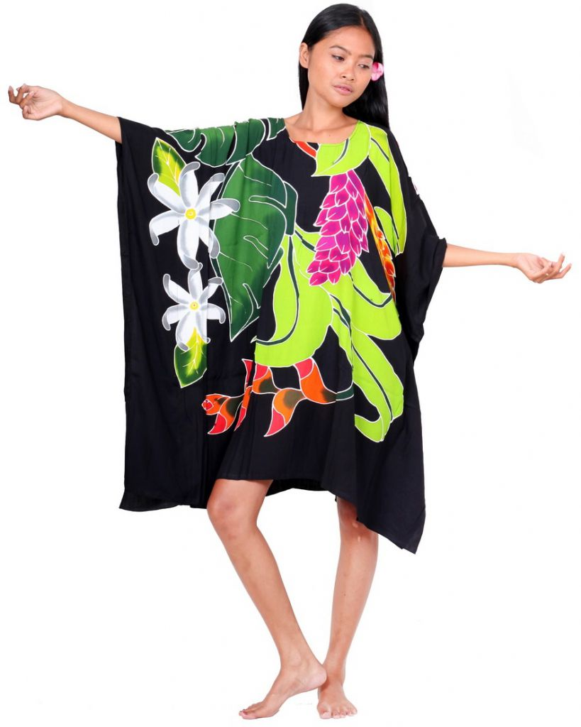 Robe paréos Opuhi de Tahiti noir