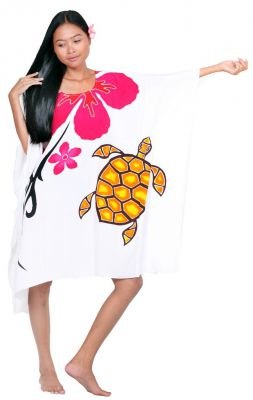 Robe paréos peint main tortue blanc