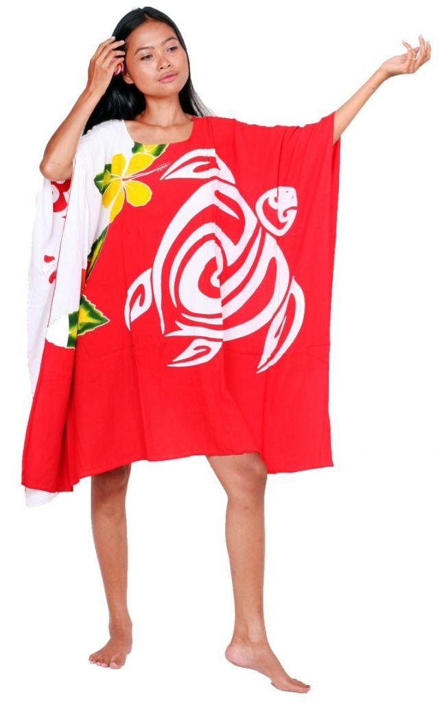 Robe paréos tortue et gecko rouge et blanc