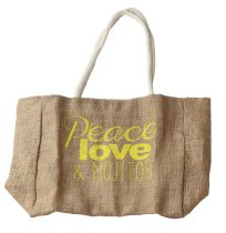 Sac peace, love et mojitos jaune