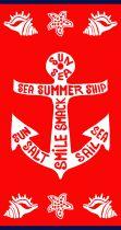 Serviette de plage ancre rouge