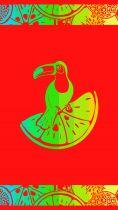 Serviette de plage toucan rouge