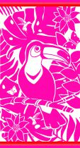 Serviette Jaquard Toucan rose