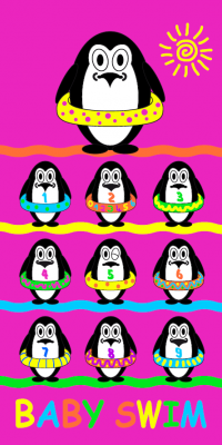 Serviette plage enfants pingouin
