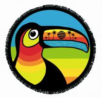Serviette ronde velour Toucan
